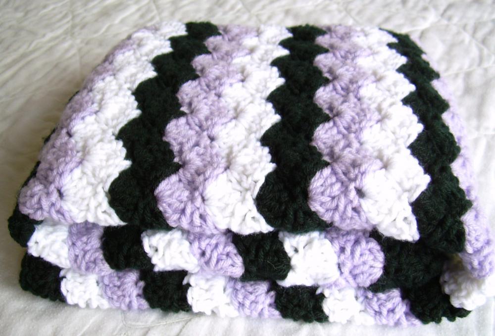 Crochet Purple Baby Blanket, white, black, and purple afghan, crib size